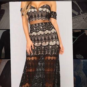 Lace Black & Beige Dress